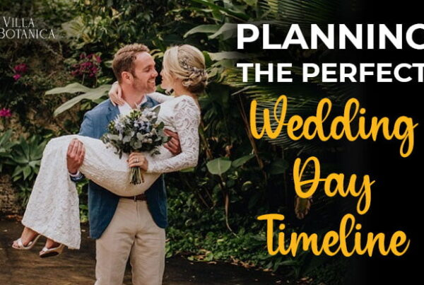 "groom carrying his bride on his arms with a header title ""Planning The Perfect Wedding Day Timeline"""
